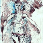Jana als Engel - 2006 - Zeichnung von Susanne Haun - Tusche auf Silberburgbütten