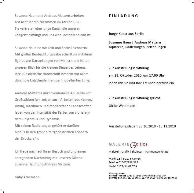 Einladung Galerie Zeitlos