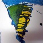 Ich gehe mit dem Gelb über das Mauriziusblau - Zeichnung von Susanne Haun