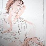 Mütze und ich - Zeichnung von Susanne Haun - 40 x 30 cm - Tusche auf Bütten