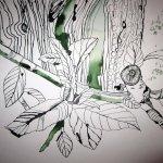 Olivenblätter auf Zeichnung von Susanne Haun 1000 x 40 cm