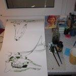 Mein Arbeitsplatz bei der Entstehung Elchskelett von Susanne Haun 1000 x 40 cm