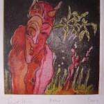 Zuerst wollte ich die Farben rot, gelb und schwarz benutzen. Die Hölle ist ja schwarz :-) - Radierung von Susanne Haun - Aquatinta 3 Platten, 15 x 15 cm