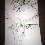 Hirsch und Olivenblätter auf Zeichnung von Susanne Haun 1000 x 40 cm