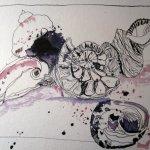 Muscheln - Version I - Zeichnun von Susanne Haun - 24 x 32 cm - Tusche auf Bütten
