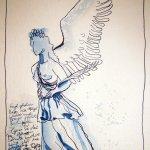 Schweriner Engel - Zeichnung von Susanne Haun - 32 x 19 cm - Tusche auf Bütten