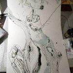 Ausschnitt Rolle - Zeichnung von Susanne Haun - 1000 x 40 cm - Tusche auf Bütten