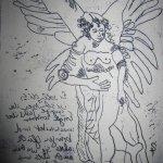 Engel Version 10 – Radierung von Susanne Haun – 20 x 15 cm – Strickätzung
