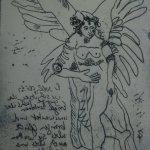 Engel Version 11 – Radierung von Susanne Haun – 20 x 15 cm – Strickätzung