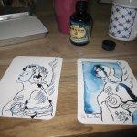 Die ersten beiden Engel sind fertig - Foto und Zeichnungen von Susanne Haun