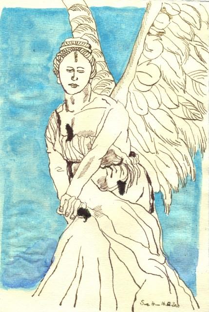 Engelgewand - Zeichnung von Susanne Haun - 30 x 20 cm - Tusche und Aquarell auf Bütten