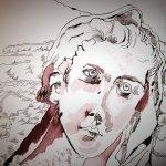 Gesicht Bergengel - Ausschnitt Zeichnung von Susanne Haun