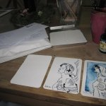 Ich arbeite sehr gerne seriell - der dritte Engel entsteht - Foto und Zeichnungen von Susanne Haun