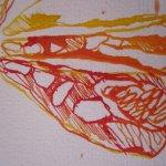 Jedes Stück Zitrone hat eine eingene Struktur - Ausschnitt Zeichnung von Susanne Haun
