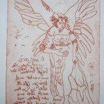 Engel Version 1 - Radierung von Susanne Haun - 20 x 15 cm - Strickätzung
