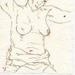 Torso 3 - Zeichnung von Susanne Haun - 15 x 15 cm - Tusche auf Bütten