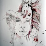 Entstehung Athena - Zeichnung von Susanne Haun - 70 x 50 cm - Tusche auf Bütten