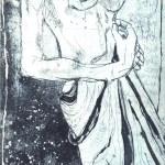 Akt mit Tuch - Proberadierung Aquatinta von Susanne Haun - 1 Platte - 25 x 20 cm