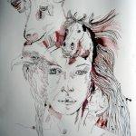 Athena vor Lavierung des Hintergrunds - Zeichnung von Susanne Haun - 70 x 50 cm - Tusche auf Bütten