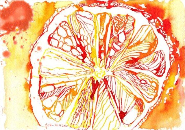 Zitrone - Zeichnung von Susanne Haun - 17 x 22 cm - Tusche und Wachs auf Bütten