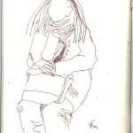 Junge Mutter schräg geradeüber - Skizze von Susanne Haun