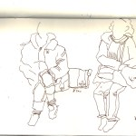 Manchmal wechseln die Fahrgäste schneller als ich sie zeichnen kann - Skizze von Susanne Haun