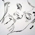Die Hand hat er vor Schreck vor dem Mund - Detail Zeichnung Susanne Haun