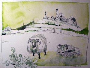 Die Ebene - Zeichnung von Susanne Haun - 30 x 40 cm - Tusche auf Bütten