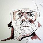 Die Dunkelheit am Hals bringt das Gesicht nach vorne - der Helm ist groß - Zeichnung von Susanne Haun
