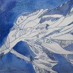 Aquarellierte Blüte - Radierung von Susanne Haun - 20 x 25 cm - Vernis Mou