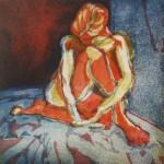 Versunken - Radierung von Susanne Haun - 25 x 25 cm - 3 Platten - Aquatinta, 2003