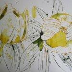 Als Kontrast zu den Linien - Blätter male ich mit Gold-Grün drei flächige Blätter - Susanne Haun