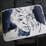 Teufelchen oder Faun - Zeichnung von Susanne Haun - Tusche auf Hahnemühle Postkarte
