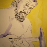 In der Schmiede ist es warm - ich wähle einen gelben Hintergrund - Susanne Haun