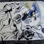 Kraft mit hellem Himmel - Zeichnung von Susanne Haun - Tusche auf Hahnemühle Postkarte
