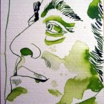 Kurfürst Freidrich August II. - Zeichnung von Susanne Haun - 15 x 10 cm - Tusche auf Hahnemühle Postkarte