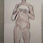Rosa Akt - Zeichnung von Susanne Haun - 10 x 15 cm - Tusche auf Hahnemühle Postkartenbütten