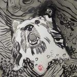 Einmal wurde einBär, der von Lofoten nach Moskoe zu schwimmen versuchte von der Strömung erfaßt - Illustration von Susanne Haun nach E.A.Poes - 80 x 60 cm - Tusche auf Bütten