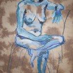 2009: Auf der Coutch - Zeichnunge von Susanne Haun - 80 x 60 cm - Acryl und Ölkreide