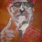 2005: Wachmann - Zeichnung von Susanne Haun - 80 x 60 cm , Ölkreide und Acryl auf handgeschöpften Büttenpapier