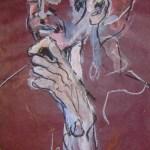2005: Auf dem Markt - Zeichnung von Susanne Haun - 60 x 20 cm , Ölkreide und Acryl auf handgeschöpften Büttenpapier