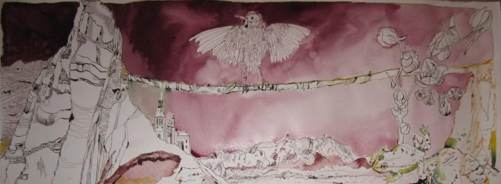 Ithas Insel - Zeichnung von Susanne Haun 40 x 100 cm - Tusche auf Bütten