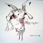 Ziege - Zeichnung von Susanne Haun - 18 x 25 cm - Tusche auf Bütten