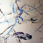 Ich hatte in der ersten Euphorie den Stamm der einen Blüte vergessen - Zeichnung von Susanne Haun