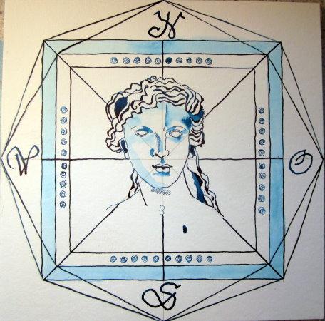 Windrose Wasser - Zeichnung von Susanne Haun - 25 x 25 cm - Tusche auf Bütten