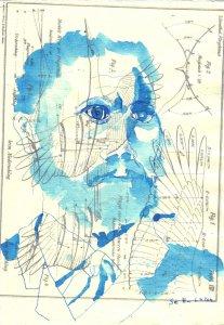 Portrait von Otto Lilienthal - Zeichnung von Susanne Haun - 30 x 20 cm - Tusche auf Silberburg Bütten