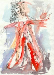 2002 - Eisfee - Zeichnung von Susanne Haun - 20 x 15 cm - Tusche und Aquarell auf Bütten