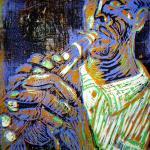 1999 - Klarinettist - Linoldruck von Susanne Haun - 30 x 20 cm