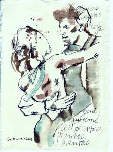 Tagebucheintragung 2006 07 19 - Zeichnung von Susanne Haun - Tusche auf Silberburg