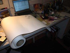 Ich beginne die neue Rolle, die vom Format meine Arbeitsfläche fast sprengt - Foto von Susanne Haun